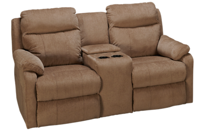 Klaussner Home Furnishings Solitaire Dual Power Loveseat Recliner with Console and Tilt Headrest