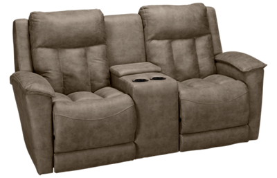 Klaussner Home Furnishings Clifford Power Loveseat Recliner with Tilt Headrest, Console and Lumbar