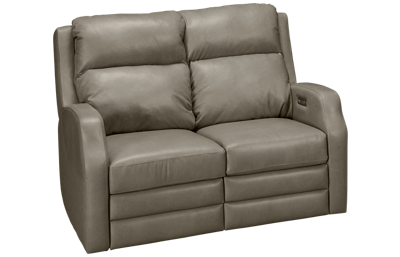 Klaussner Home Furnishings Kamiah Leather Power Loveseat Recliner with Tilt Headrest and Lumbar