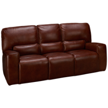 Futura Chestnut Leather Power Sofa Recliner with Tilt Headrest
