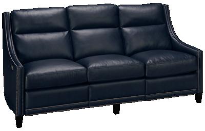 Bernhardt Richmond Leather Dual Power Sofa Recliner with Tilt Headrest and Nailhead