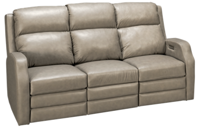 Klaussner Home Furnishings  Kamiah Leather Dual Power Sofa Recliner with Tilt Headrest and Lumbar