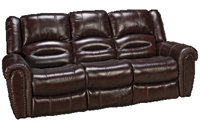 Flexsteel Crosstown Leather Dual Power Sofa Recliner with Power Headrest