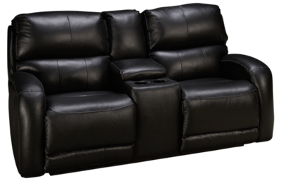 Southern Motion Fandango Leather Power Sofa Recliner with Tilt Headrest and Console