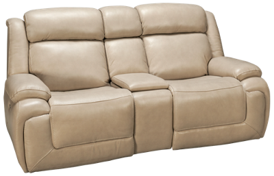Man Wah Norton Leather Power Sofa Recliner with Tilt Headrest and Console
