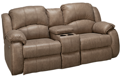 Southern Motion River Run Dual Power Sofa Recliner with Console and Headrest