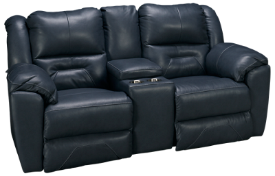 Southern Motion Pandora Leather Dual Power Sofa Recliner with Console and Tilt Headrest