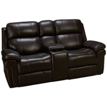 Synergy Seville Leather Power Loveseat Recliner with Console