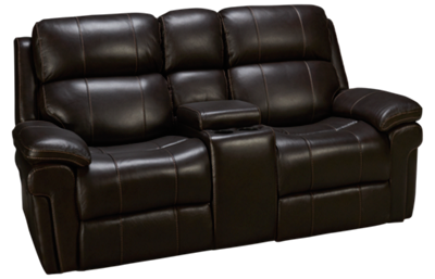Synergy Seville Leather Dual Power Loveseat Recliner with Console