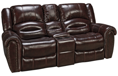 Flexsteel Crosstown Leather Dual Power Loveseat Recliner with Console and Power Headrest