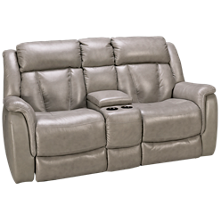 Futura Roswell Leather Power Loveseat Recliner with Tilt Headrest and Console