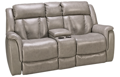 Futura Roswell Leather Power Loveseat Recliner with Console
