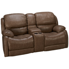 Futura Alta Power Leather Loveseat with Console & Power Tilt Headrest