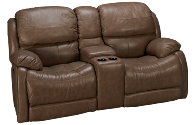 Futura Alta Power Leather Loveseat with Console &