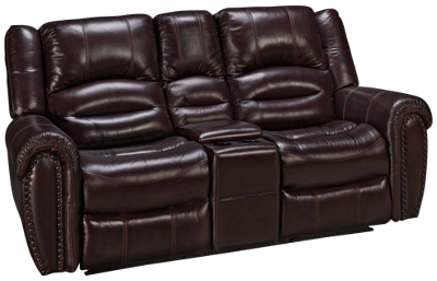 Flexsteel Crosstown Leather Power Loveseat Recliner with Tilt Headrest and Console