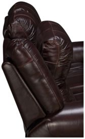Flexsteel Crosstown Leather Power Loveseat Recliner with Console and Power Headrest