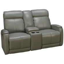 Futura Andros Leather Power Loveseat Recliner with Tilt Headrest and Console