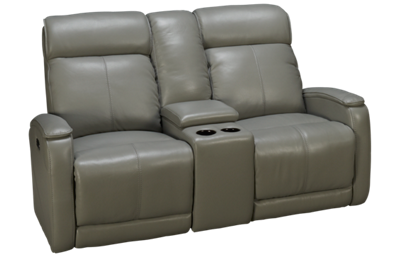Futura Andros Leather Power Loveseat Recliner with Console and Headrest