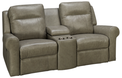 Palliser Vega Leather Power Loveseat Recliner with Console and Power Tilt Headrest