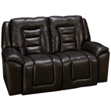 Southern Motion Grid Iron Leather Power Loveseat Recliner with Tilt Headrest