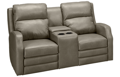 Klaussner Home Furnishings Kamiah Leather Power Loveseat Recliner with Tilt Headrest, Console and Lumbar