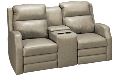 Klaussner Home Furnishings Kamiah Leather Dual Power Loveseat Recliner with Tilt Headrest, Console and Lumbar