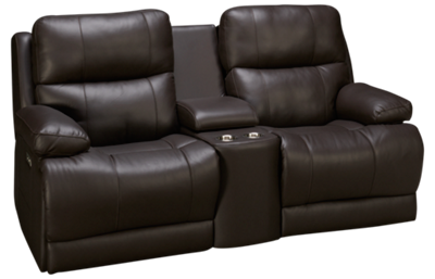 Palliser Kenaston Leather Power Loveseat Recliner with Console and Tilt Headrest