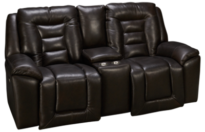 Southern Motion Grid Iron Leather Power Loveseat Recliner with Console and Tilt Headrest