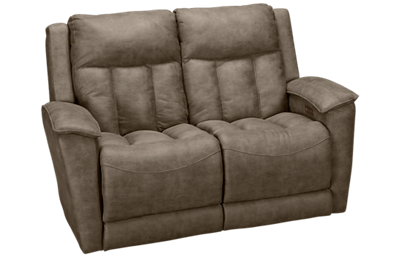 Klaussner Home Furnishings Clifford Dual Power Loveseat Recliner with Tilt Headrest and Lumbar