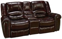 Flexsteel Crosstown Leather Power Loveseat Recliner with Console