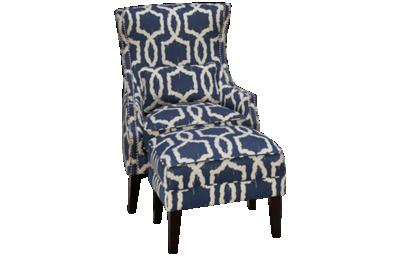 Simon Li Stampede Accent Chair with Nailhead & Ottoman