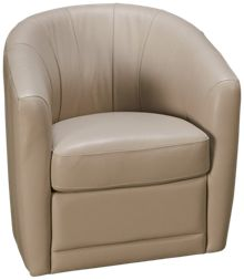 Natuzzi Editions Barile Leather Accent Swivel Chair