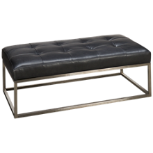 Jonathan Louis Strathmore Leather Accent Ottoman