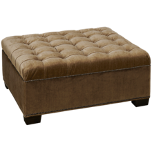 Huntington House Traditional High Back Accent Square Ottoman