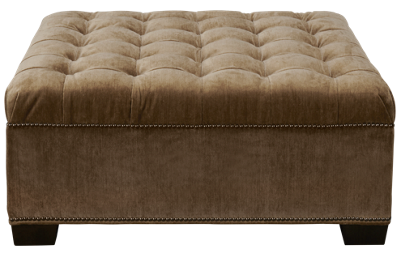 Huntington House Traditional High Back Accent Square Ottoman with Nailhead