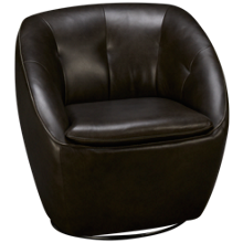 Futura Grey Leather Swivel Chair