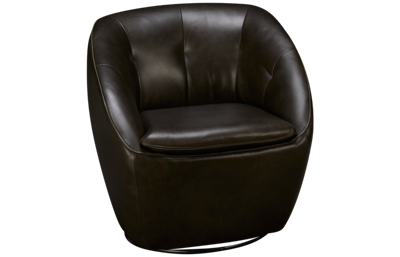 Futura Grey Leather Swivel Chair