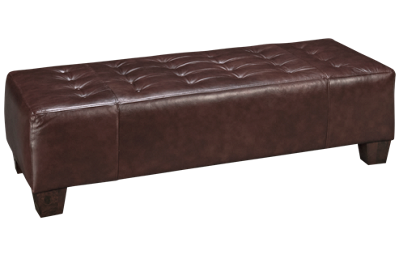 Klaussner Home Furnishings Rowlin Leather Accent Ottoman