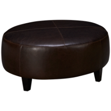 Jonathan Louis Leather Accent Round Ottoman
