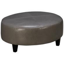 Jonathan Louis Foster Leather Accent Round Ottoman