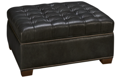 Huntington House Plush Leather Accent Storage Ottoman