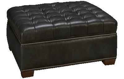 Huntington House Plush Leather Accent Storage Ottoman