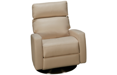 American Leather Elliot Leather Power Swivel Recliner with Tilt Headrest
