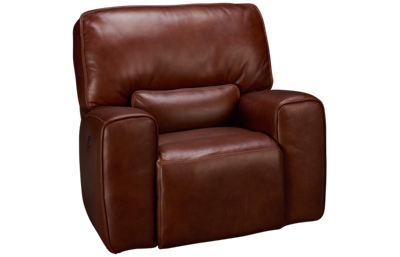 Futura Chestnut Leather Power Glider Recliner with Tilt Headrest