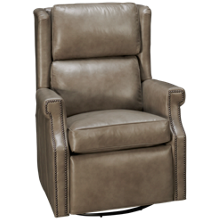 Huntington House Pit Leather Accent Power Swivel Glider Recliner
