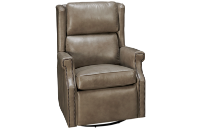 Huntington House Pit Leather Accent Power Swivel Glider