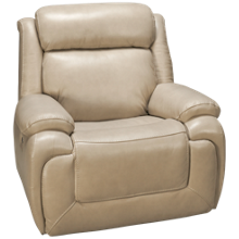 Man Wah Norton Leather Power Recliner with Tilt Headrest