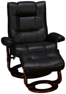 Benchmaster Black Leather Chair and Ottoman