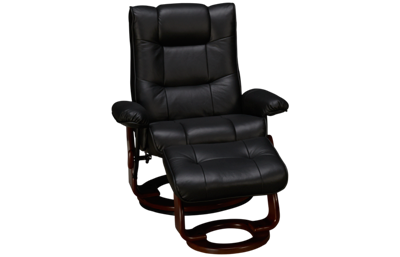 Benchmaster Black Leather Swivel Chair and Ottoman