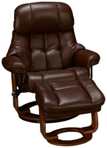 Benchmaster Nicholas Leather Chair and Storage Ottoman